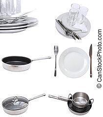 Collage of glasses, plates, dishware, utensil.