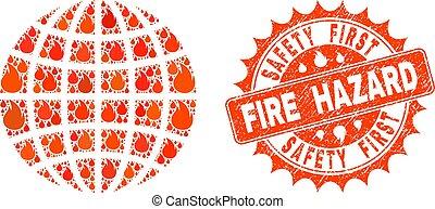 Collage of Globe Burning and Fire Hazard Grunge Stamp Seal
