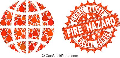 Collage of Globe Burning and Fire Hazard Grunge Stamp Seal