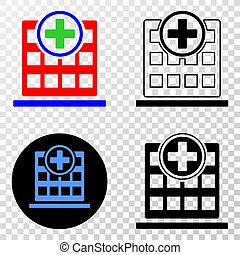 Collage of Gradiented Dotted Hospital Building and Grunged Stamp