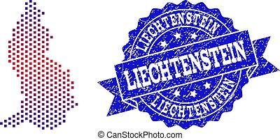 Collage of Gradiented Dotted Map of Liechtenstein and Grunged Stamp