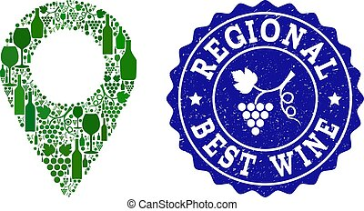 Collage of Grape Wine Local Map Marker and Best Wine Grunge Stamp