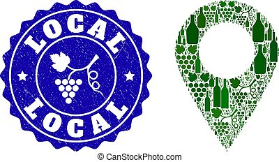 Collage of Grape Wine Local Place and Grape Grunge Stamp