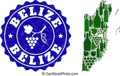 Collage of Grape Wine Map of Belize and Grape Grunge Stamp