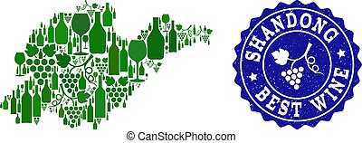 Collage of Grape Wine Map of Shandong Province and Best Wine Grunge Watermark