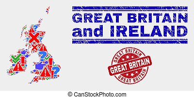 Collage of Great Britain and Ireland Map Symbol Mosaic and Grunge Great Britain Stamp