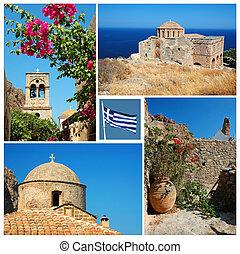 Collage of Greek landmarks