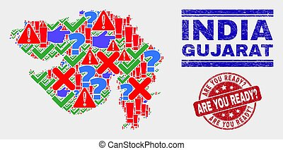 Collage of Gujarat State Map Symbol Mosaic and Scratched Are You Ready? Stamp