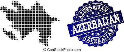 Collage of Halftone Dotted Map of Azerbaijan and Grunge Stamp Watermark