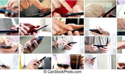 Collage of hand using modern touchscreen smart phone