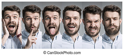 Collage of happy and surprised emotions - Set of young man's...