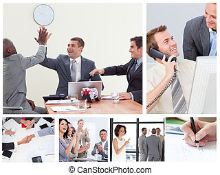 Collage of happy business people