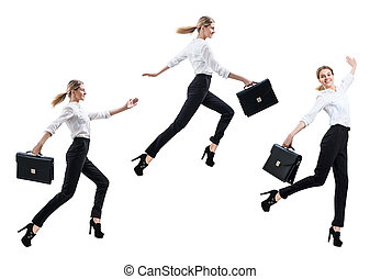 Collage of happy business woman in formal wear jumping with briefcase.