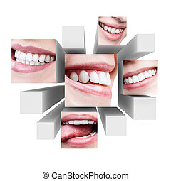 Collage of healthy beautiful smile on 3d cubes.