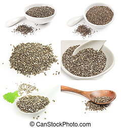 Collage of healthy chia seeds isolated on a white background cutout