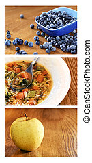 Collage of healthy food on wood table