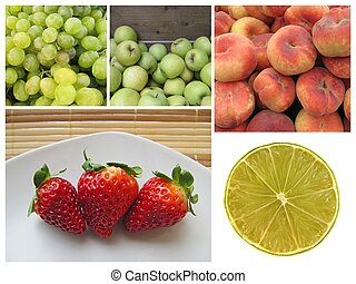 Collage of healthy fruits.