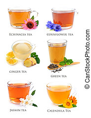 Collage of herbal tea.