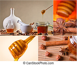 Collage of honey and nuts