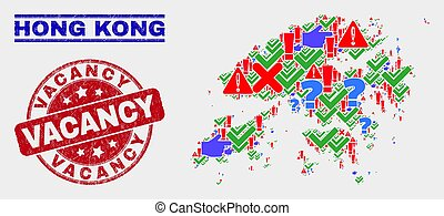 Collage of Hong Kong Map Sign Mosaic and Scratched Vacancy Watermark