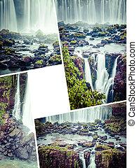 Collage of Iguassu Falls ( Brazil ) images - travel background (my photos)