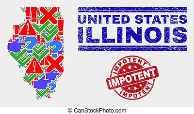 Collage of Illinois State Map Sign Mosaic and Distress Impotent Seal