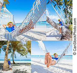 Collage of images Little boy relaxing on a tropical beach in hammock.