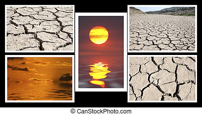Collage of images of drought and heat
