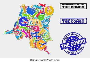 Collage of Industrial Democratic Republic of the Congo Map and Quality Product Stamp