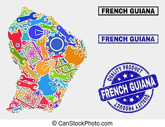 Collage of Industrial French Guiana Map and Quality Product Seal