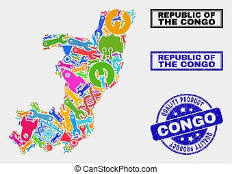 Collage of Industrial Republic of the Congo Map and Quality Product Seal