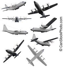 Collage of isolated aircraft - Isolated collection of...