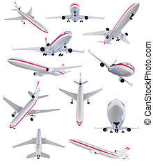 Collage of isolated airplane - Isolated collection of...