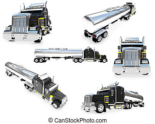 Collage of isolated big truck - Isolated collection of big...