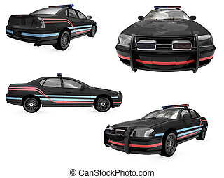 Collage of isolated black police car - Isolated collection...