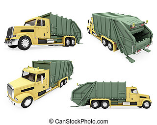 Collage of isolated dump truck - Isolated collection of dump...