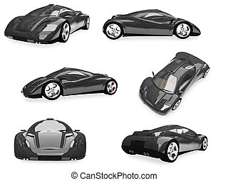 Collage of isolated sport car - Isolated collection of sport...