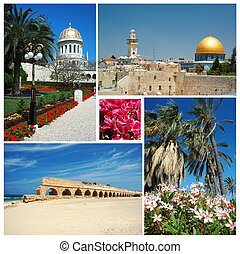 Collage of Israel landmarks -Jerusalem,Bahai temple -...