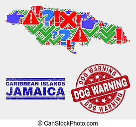 Collage of Jamaica Map Sign Mosaic and Scratched Dog Warning Stamp
