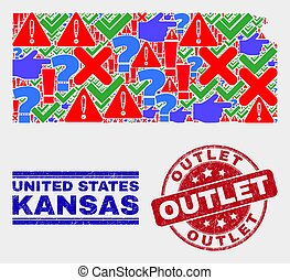 Collage of Kansas State Map Sign Mosaic and Scratched Outlet Seal