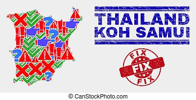 Collage of Koh Samui Map Symbol Mosaic and Distress Fix Stamp Seal
