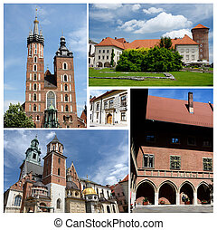 Collage of Krakow famous landmarks,listed as unesco