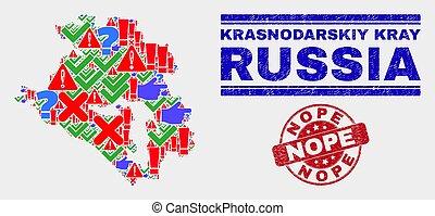 Collage of Krasnodarskiy Kray Map Symbol Mosaic and Grunge Nope Watermark