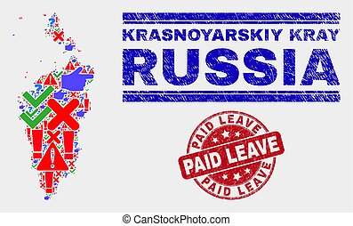 Collage of Krasnoyarskiy Kray Map Symbol Mosaic and Scratched Paid Leave Stamp Seal