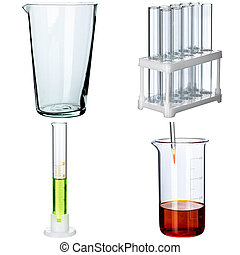 Collage of laboratory glassware on white background