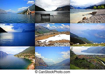 Collage of Lake Garda in scenic pictures, Lago di Garda, Italy.