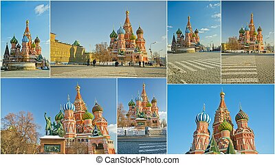 Moscow, Russia - Collage of landmarks of Moscow, Russia