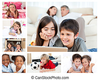 Collage of layed down children