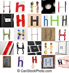 Collage with 25 images with letter H
