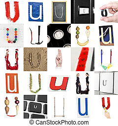Collage of Letter U
